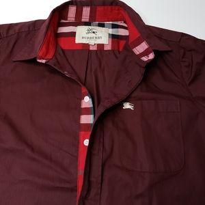 Burberry Burgundy Embroidered Shirt Plaid Large